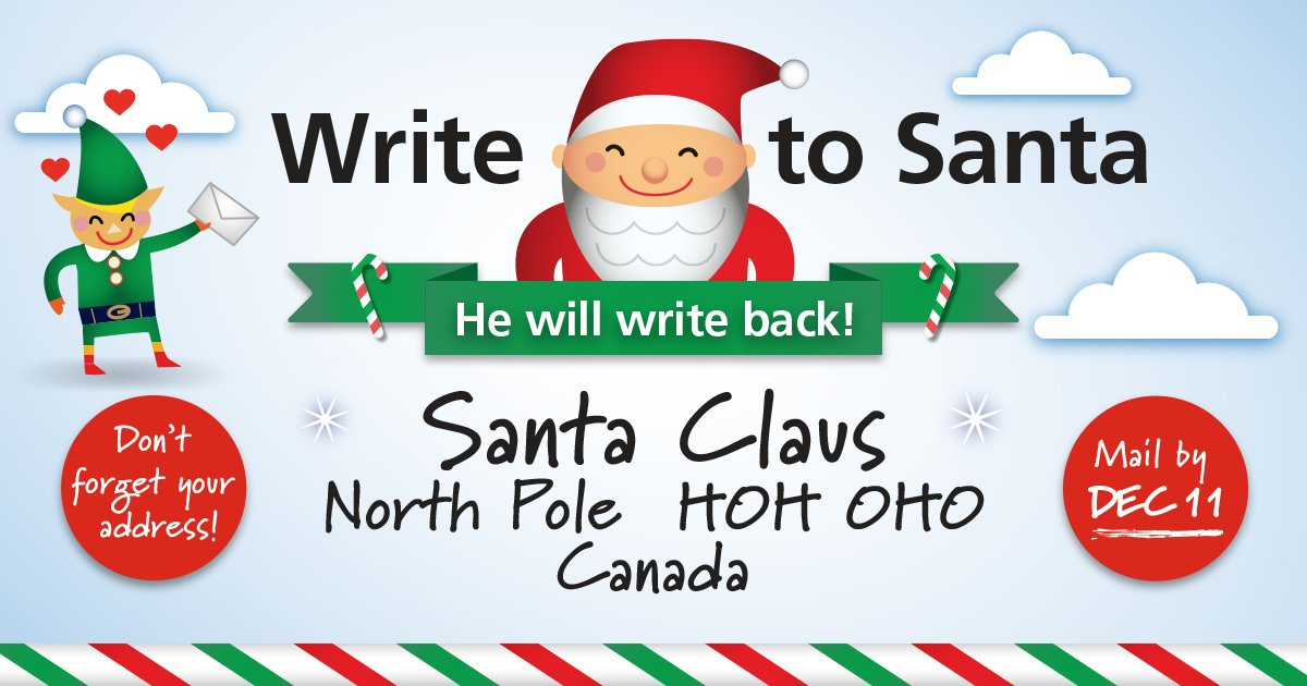 Canada post on twitter today is the deadline for mailing your send your letter today to get your reply from santa in time for christmas dont forget to include a return address hohoho httppnw bctxr5w0nr spiritdancerdesigns Images