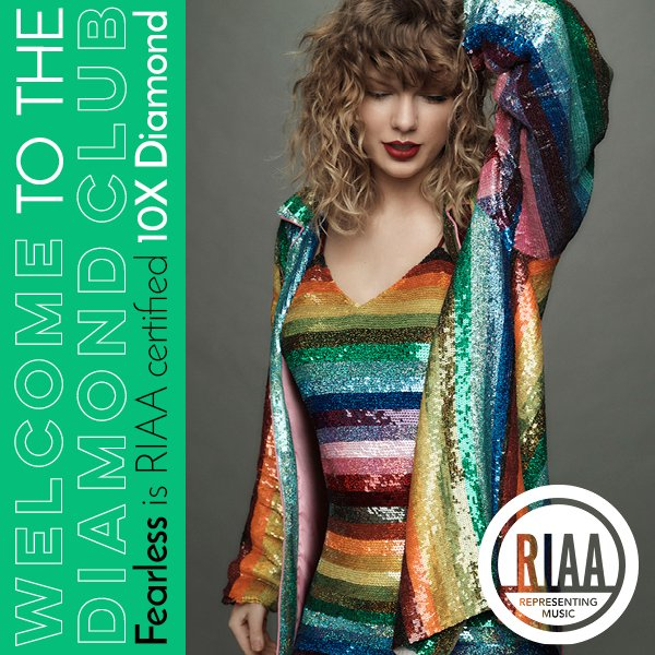 #Fearless joins the RIAA 10X Diamond club! @taylorswift13! @BigMachine