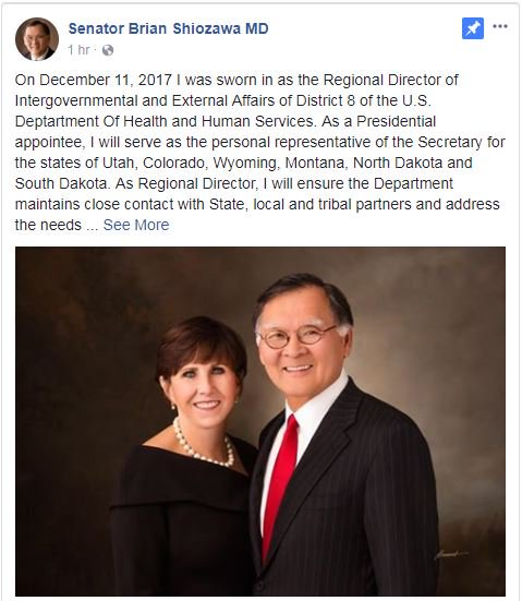 JUST IN: Senator Shiozawa has been sworn in to serve as a regional director for HHS and is resigning his seat in the State Senate.