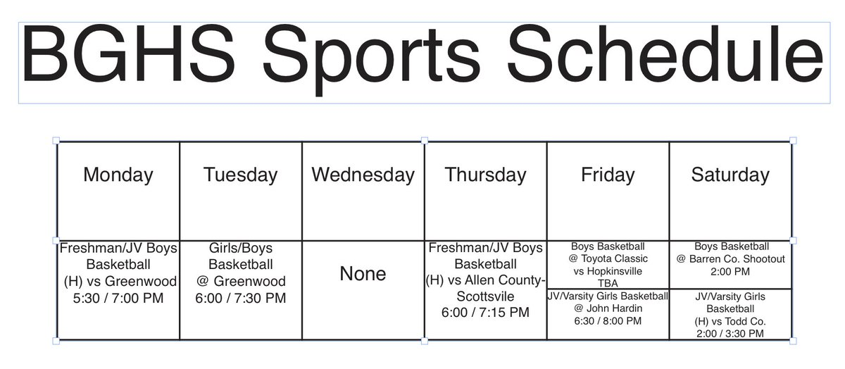 make a sports schedule