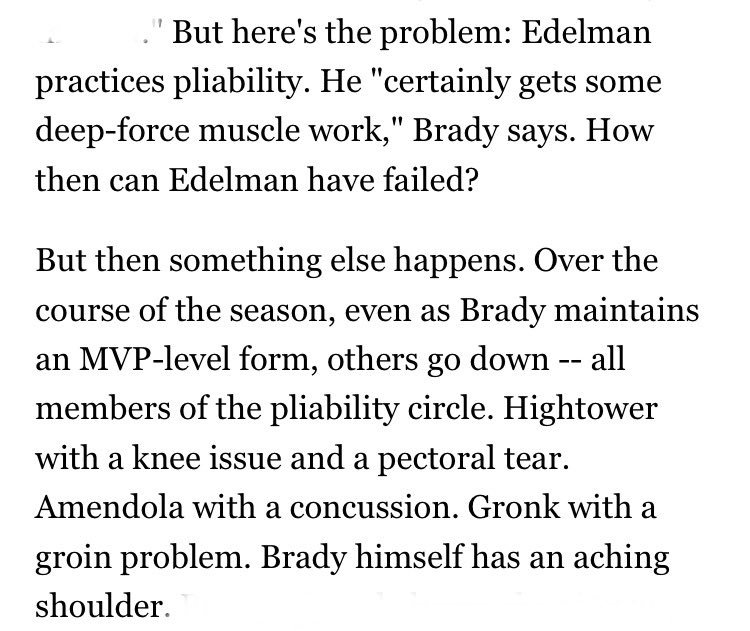 Pats on MNF. Here's the best part of ESPN's big mag feature on Brady's exercise cult: when the writers note all the people Brady converted have been hurt. https://t.co/lTLbiLHwjo