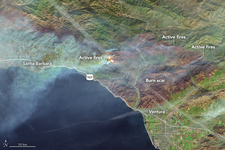 NASA has released satellite images showing the Thomas Fire burning through a vast swath of Southern California https://t.co/HXKIG9H7NM