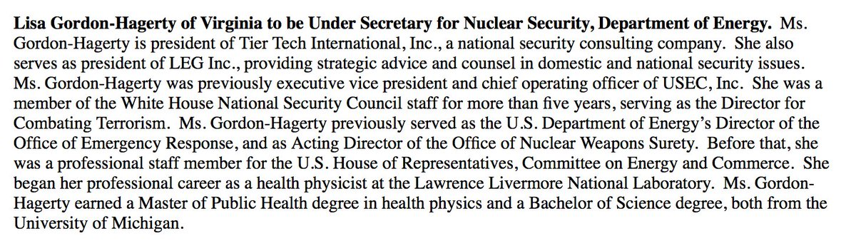 Ex-NSC Director for Combating Terrorism set to be nominated by @POTUS as @ENERGY Under Secretary for Nuclear Security.