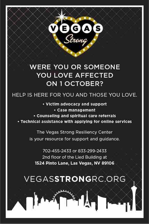 If you or someone you know needs helps, the is assistance available. #VegasStrong !