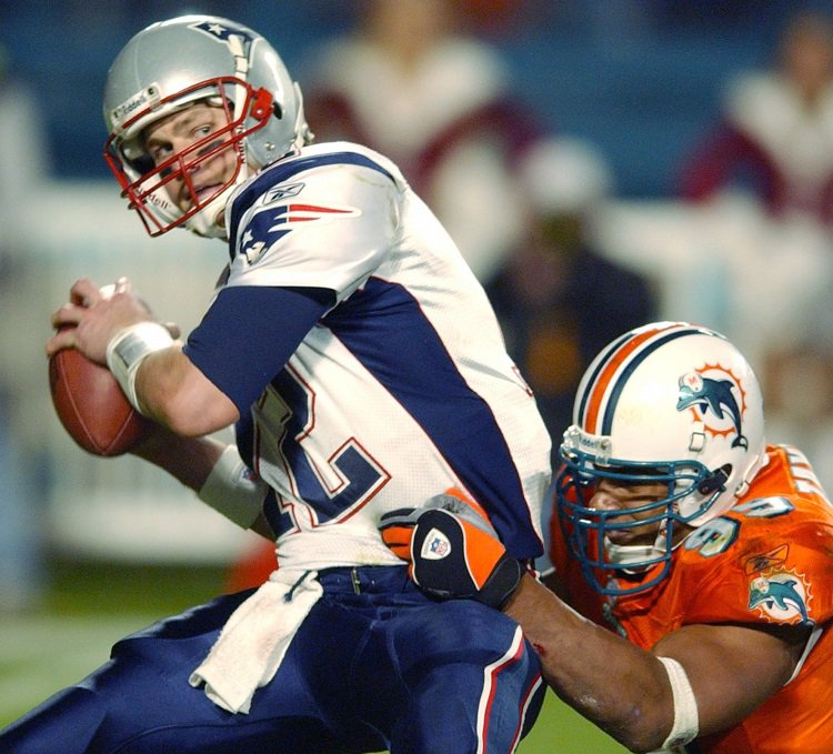Tom Brady is 7-8 on the road against the Dolphins ...  He's 81-28 on the road against everyone else
