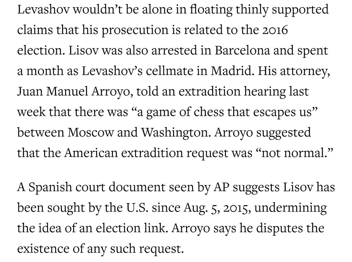 Let's take Stanislav Lisov, another alleged hacker. His lawyer also made suggestive claims about a 'chess game' between Moscow and Washington. But we saw Spanish court documents showing US prosecutors had been seeking Lisov since 2015 - a year before the DNC hack.