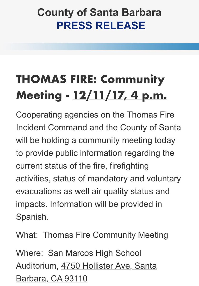 #ThomasFire more updates TODAY at San Ma...