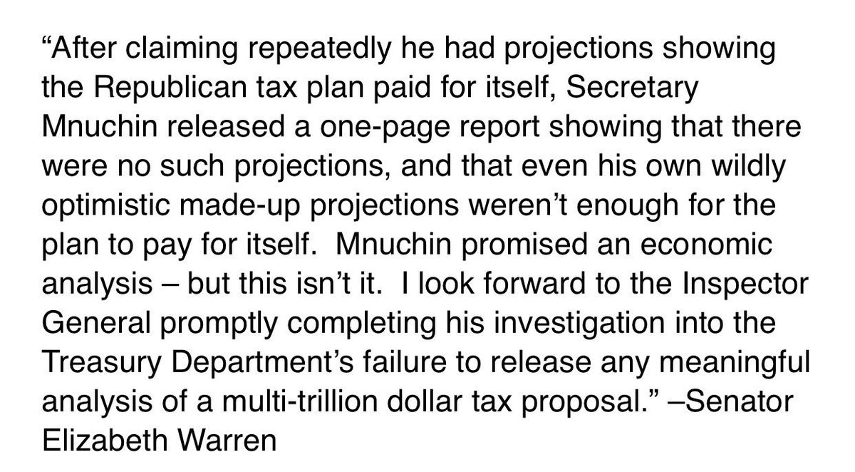 .@SenWarren not satisfied with the Treasury tax plan analysis. Calls for prompt completion of inspector general investigation.