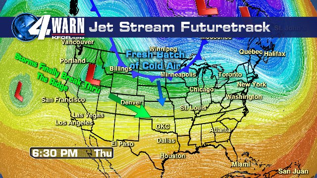 Our Oklahoma weather MAY get a bit more INTERESTING on December 24th and 25th! Here is the JET STREAM on December 21st, 10 days from now, and ingredients for much needed moisture may be moving our way. Cold air is making a move too! KFOR Mike