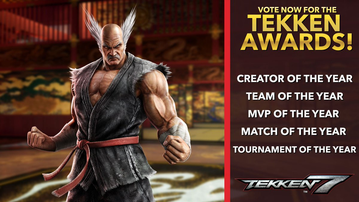 """A big """"THANK YOU"""" to the community for your continued support of TEKKEN! To honor everyone who made this one of the best years of TEKKEN, we're introducing: The TEKKEN Awards! VOTE TODAY for the best in each of category by 12/15 at 5pm PST. https://t.co/fAym0N7hyd"""