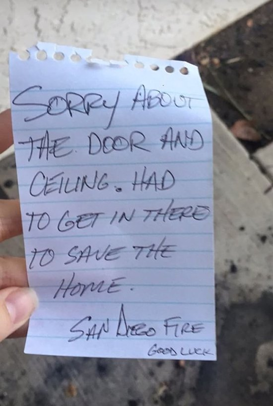 A sweet note from anonymous firefighters battling the #LilacFire.  The Bonsall homeowner is hoping to find the firefighters behind the kind note >>> https://t.co/oecqrJHdH1