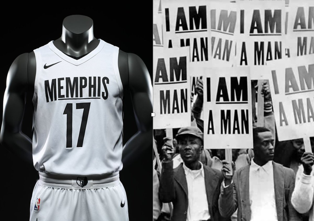 """Paul Lukas on Twitter: """"Grizzlies' new alternate uniform design references  1968 Memphis sanitation workers' strike and upcoming 50th anniversary of  Martin Luther King Jr.'s assassination. More info: https://t.co/e1PCBvNtMq…  https://t.co/a8O4uN0h88"""""""