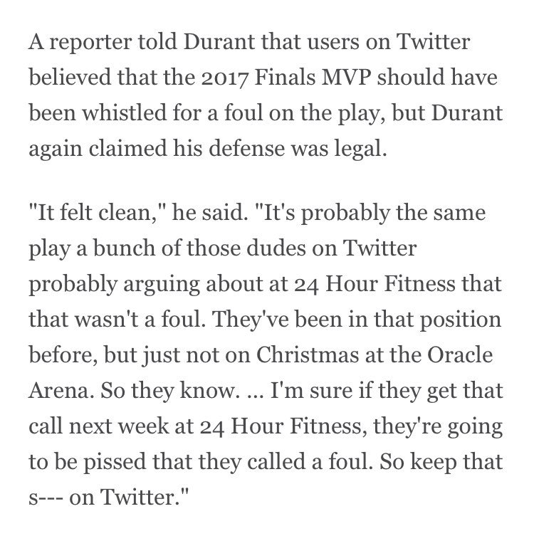 08068894c51 Kevin Durant loves it when you tell him that Twitter thinks he fouled LeBron  James pic.twitter.com SwtbM6YUr7