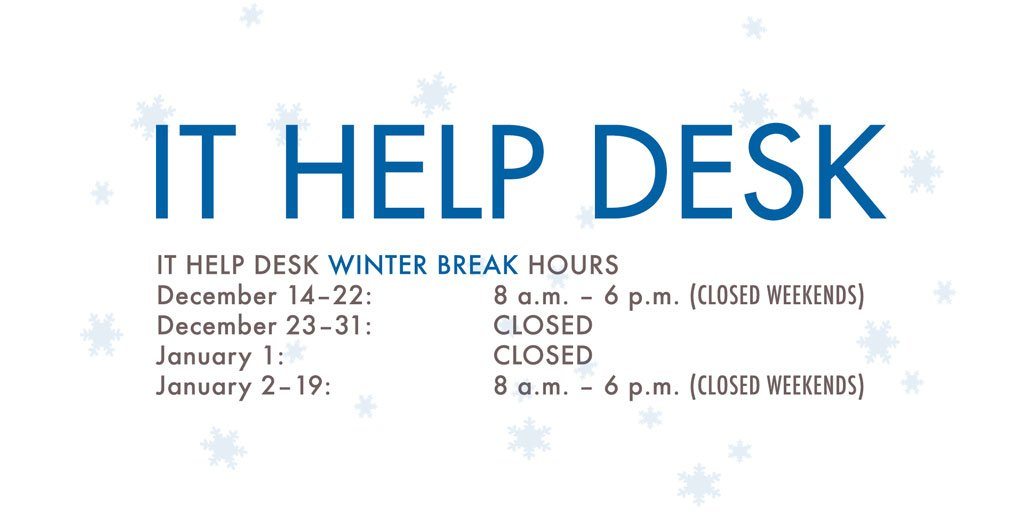 More Information About The It Help Desk Winter Hours Is At Http Blog Smu Edu Itconnect 2017 12 13 2018 Pic Twitter