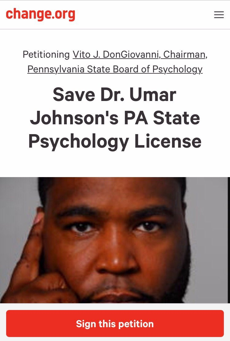 Dr umar johnson on twitter the pa state board of psychology psychologist certification and ban him from obtaining his license he is not currently licensed please modify your letters petitions accordingly 1betcityfo Choice Image