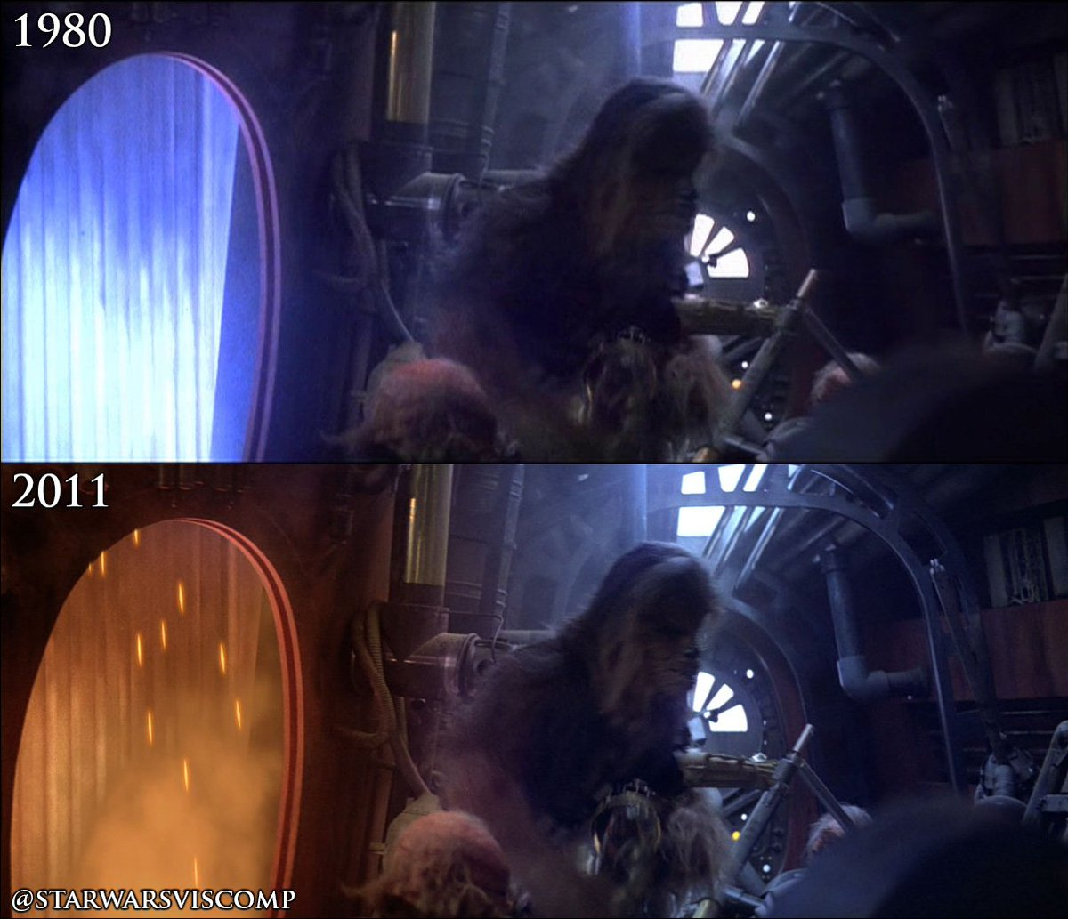 Star Wars Visual Comparisons A Twitter For The Blu Ray Possible 3d Release Sparks Smoke Were Added To The Junk Furnace Parts Of The Shot Have Been Slightly Color Retimed To Match
