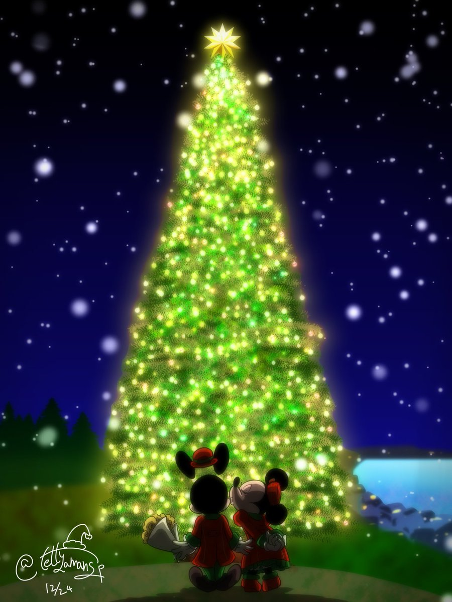 트위터의 唯一無二のてつし J Cartoon Artist 님 雪降る丘で聖なる夜を 唯一無二のてつし クリスマス クリスマスイヴ ディズニー ミッキー ミニー パーフェクトクリスマス クリスマスツリー 雪 夜 ホーリーナイト Christmas ディズニー クリスマス