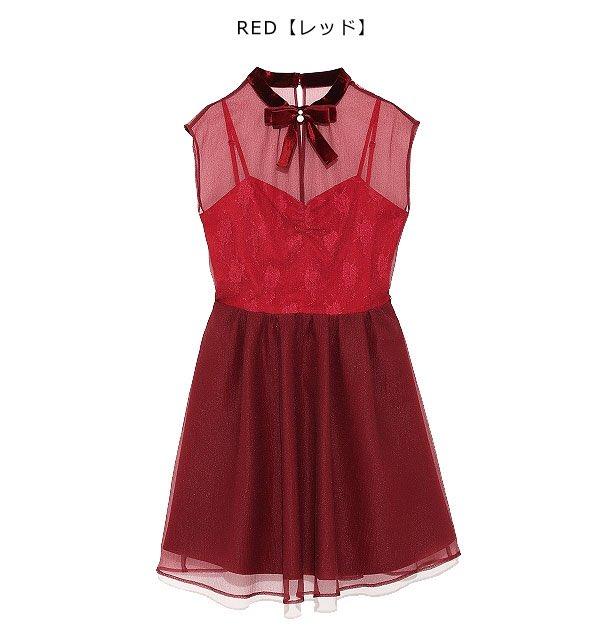 石原 夏織  Lily Brown ベロアパールリボン付ドレス(RED)