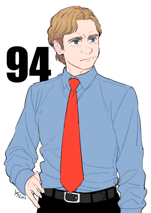 94年のデヴィッド。茶金の髪色、ややオーバーサイズのブルーのシャツに鮮やかな赤いネクタイ。色の主張が激しい。 #LOLメモ