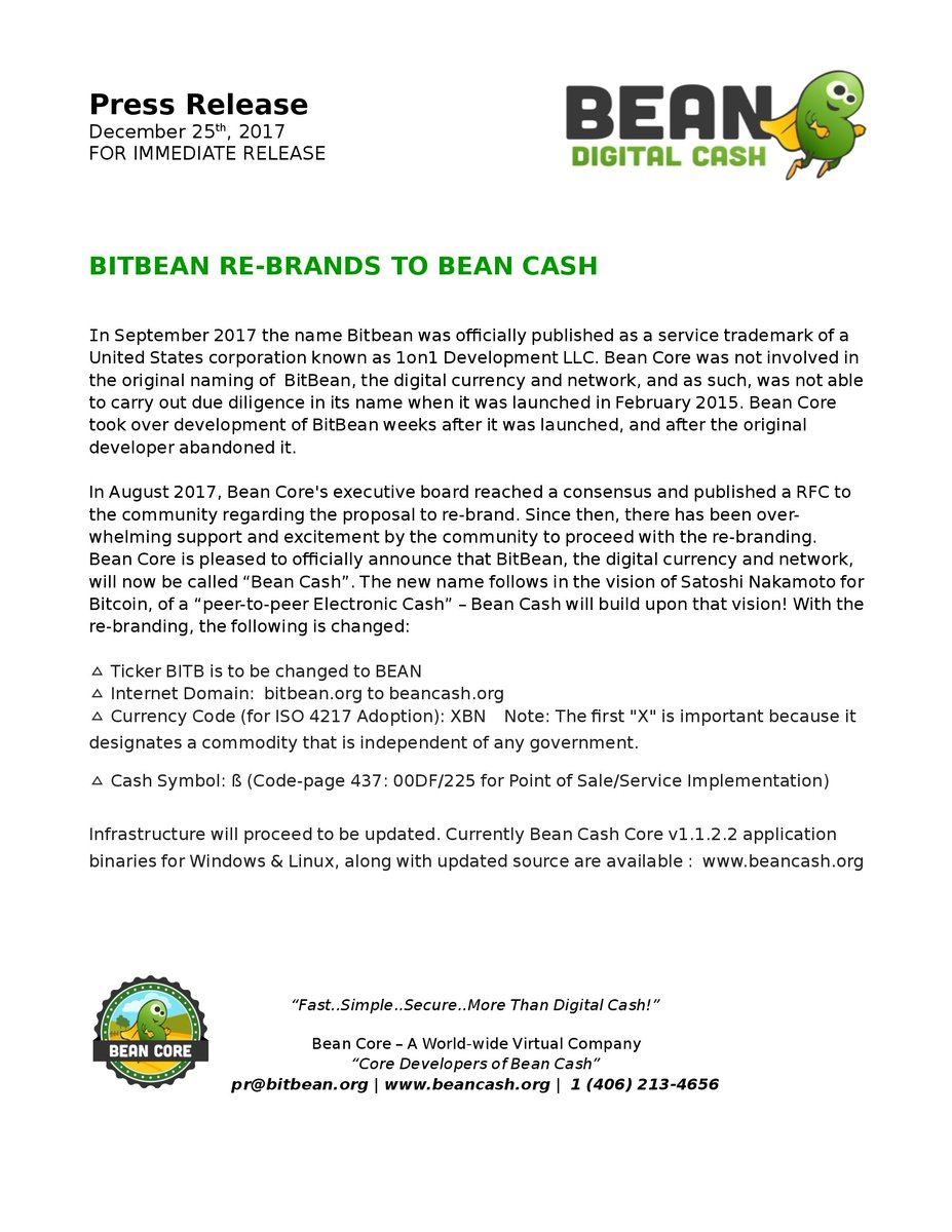 Bean cash bitbean re brands to beancash press release 25th 2017 for immediate release httpbitbeandownloadsbeancashrebrandprpdf or httpbeancashdownloadsbeancashrebrandprpdf buycottarizona Image collections
