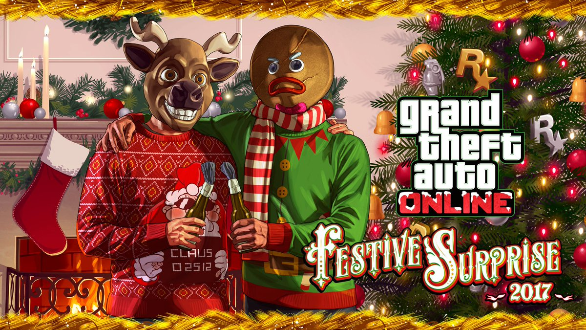 All Gta Christmas Masks.Snow Falling Los Santos Christmas Gift Waiting Gta Online