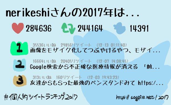 #個人的ツイートランキング2017 nerikeshiさんは今年14391件のツイートをして、 284636件のいいねと244164件のリツイートをもらいました! 4位以降は→