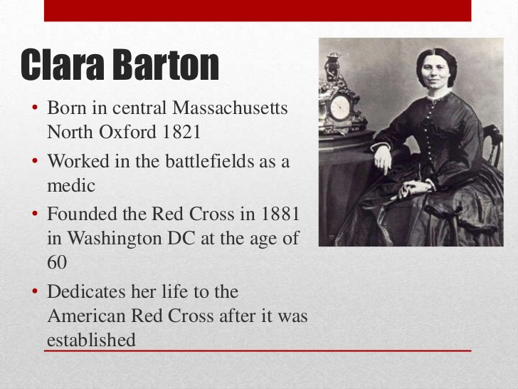 an introduction to the life of clara barton the founder of the american red cross In washington, dc, humanitarians clara barton and adolphus solomons found the american national red cross, an organization established to provide humanitarian aid to victims of wars and natural.