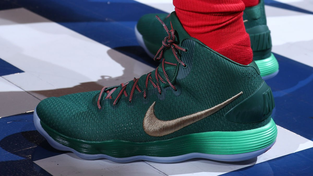 84395cf2dae5 solewatch bensimmons25 wearing a christmas nike react hyperdunk pe against  the knicks