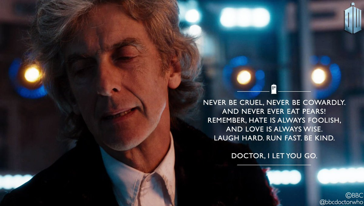 As Twelve lets go… Words to hold onto. #DoctorWho