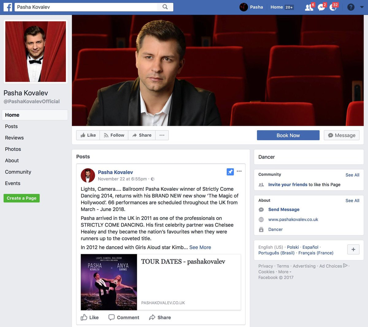 """Pasha Kovalev ar Twitter: """"Hello to my lovely friends and fans - I launched  my new Facebook page recently - https://t.co/BOmQZMxrPO - so I'd be really  grateful if you would you please '"""