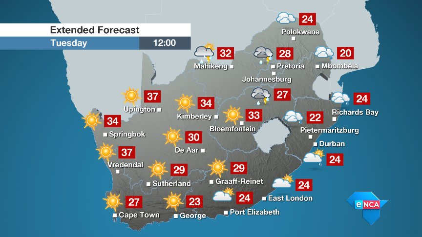 South Africa Weather Forecast Map | Jackenjuul