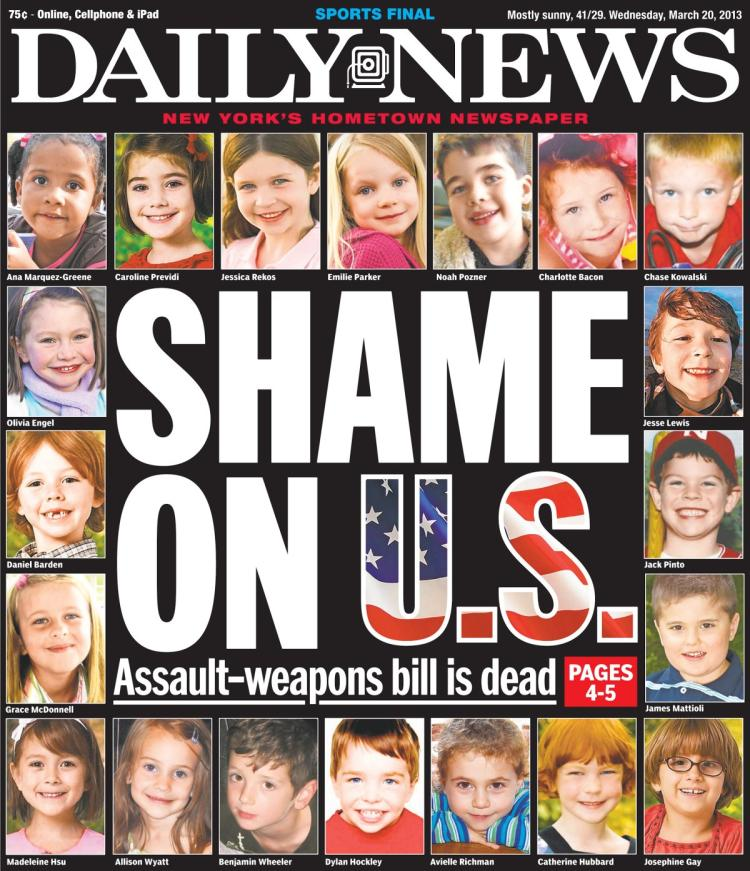 Today is the fifth anniversary of the mass shooting at #SandyHook Elementary School. Twenty children and six educators were slaughtered. I keep a copy of this @NYDailyNews cover in my office because these children are why we fight for commonsense gun safety laws. #HonorWithAction