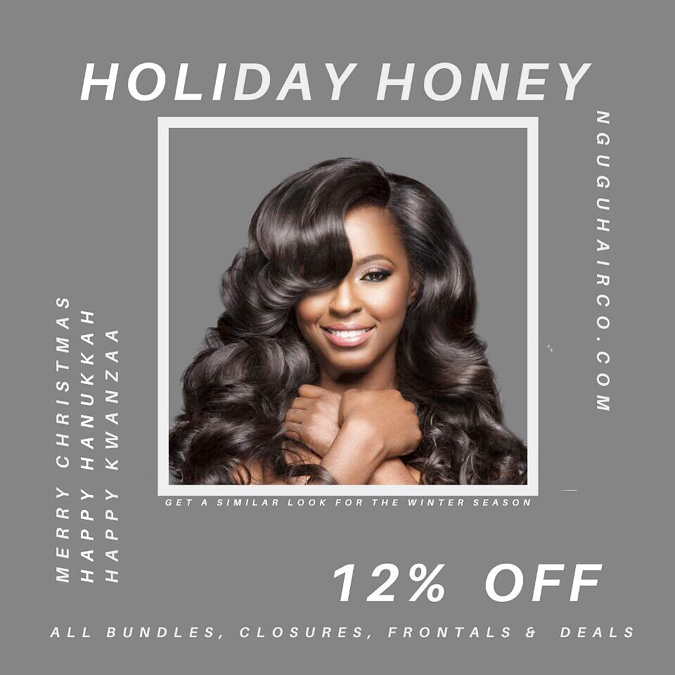 On the second day of Christmas, Nguvu gave to me 12% Off SALE for a #HOLIDAYHONEY !   Shop with us today on http://Nguvuhairco.com     Use the code #holidayhoney for 12% of your purchase❤️  #Nguvubabe #GoNguvu #Weave#Nguvubarbie #hairstyles  #Holiday