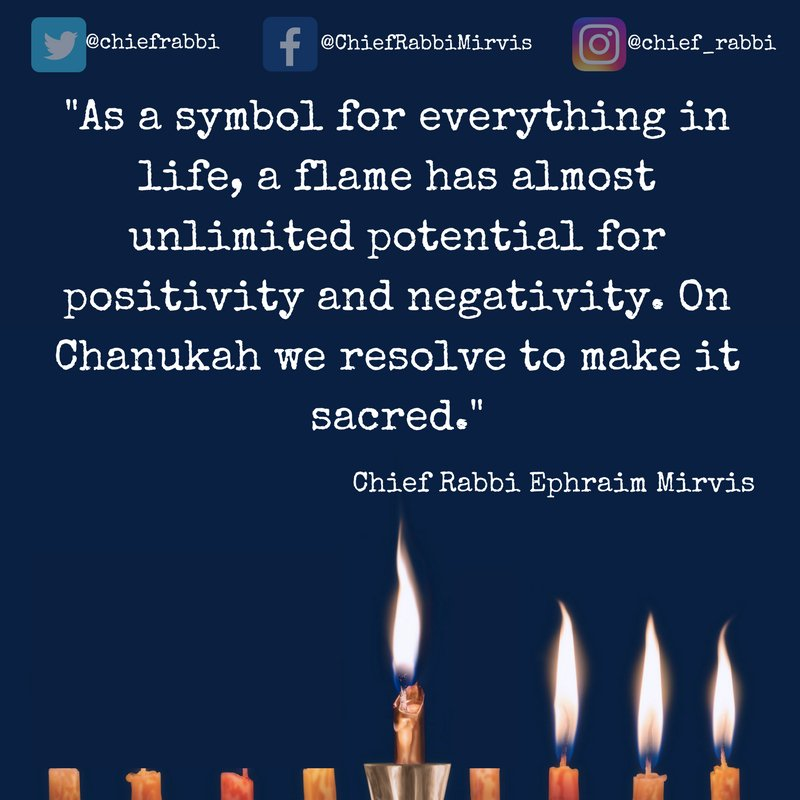 Chief Rabbi Mirvis On Twitter Tonight We Kindle Our Third Flame