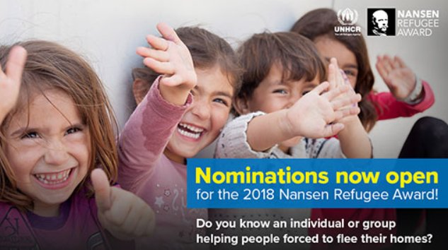 #Premio Nansen per i #Rifugiati 2018 - https://t.co/0dQngiyDzO @UNHCRItalia https://t.co/l2Gri3u9P7