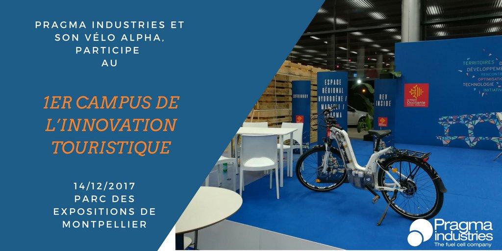 Pragma industries et son vélo Alpha sont aujourd'hui au 1er Campus de l'Innovation Touristique à Montpellier. #H2now #écomomilité #hydrogen #vélo #fuelCell #croissanceVerte #TransitionÉcologique #H2bike
