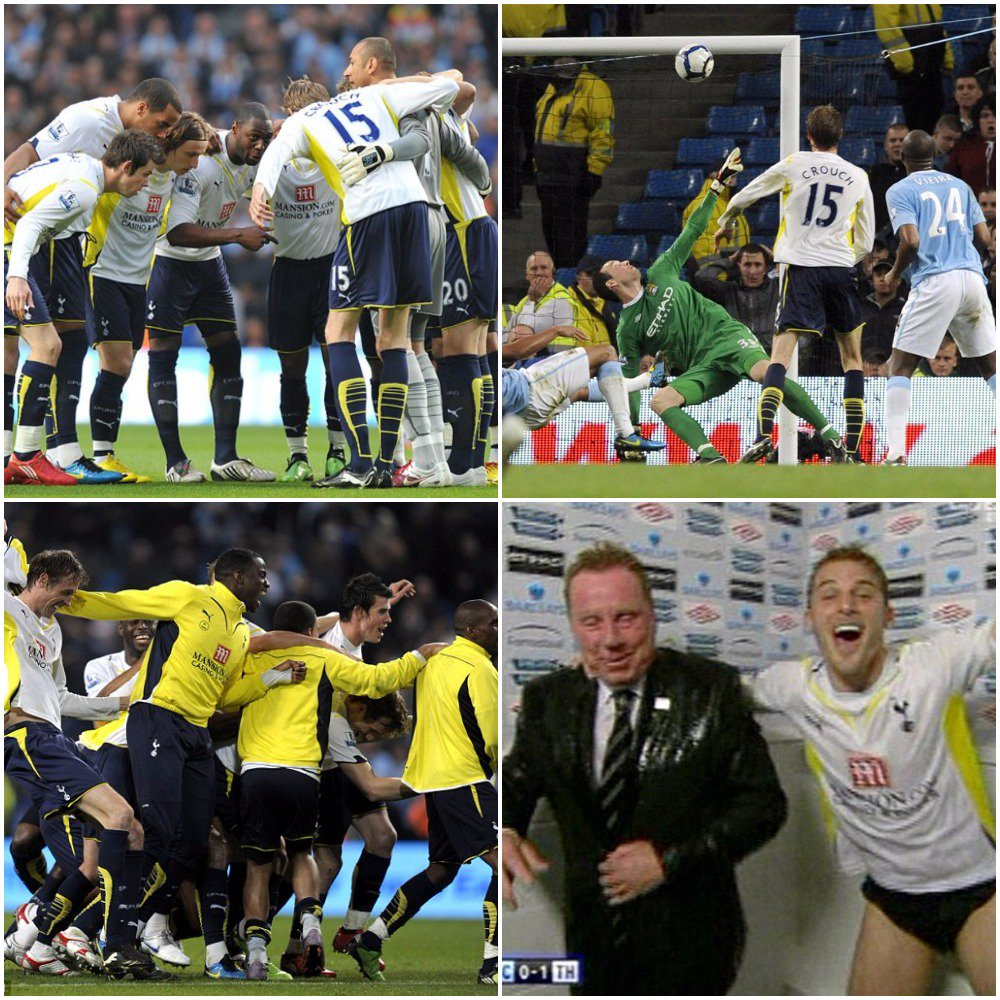 Throwback to 2011, when a @petercrouch goal against Man City secured Tottenham a place in the Champions League at the expense of Man City.  It also secured a drenching for Harry Redknapp!