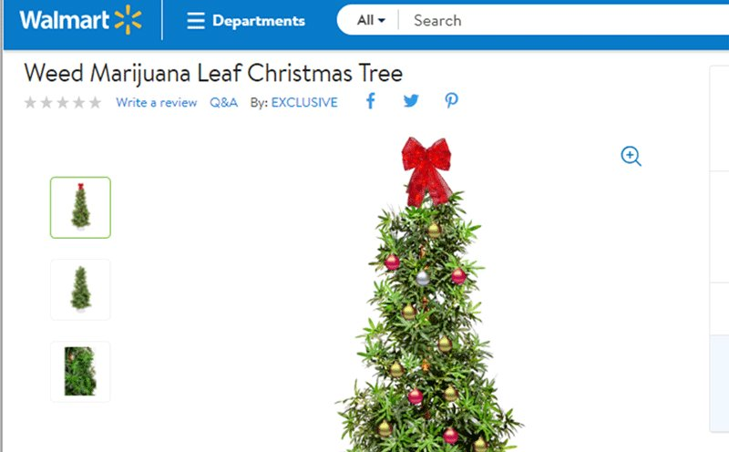 walmart is selling a fake christmas tree that looks like a marijuana plant for the person whose holiday baking isnt confined to the kitchen