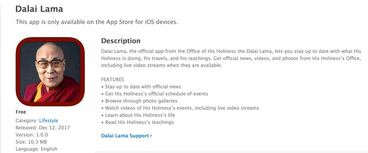 The Office of His Holiniess the Dalai Lama has released 'Dalai Lama', a new iPhone App now available for download at the Apple App Store https://t.co/F7V8IpkgDl. With Dalai Lama stay up to date with what His Holiness is doing, his travels, and his teachings.