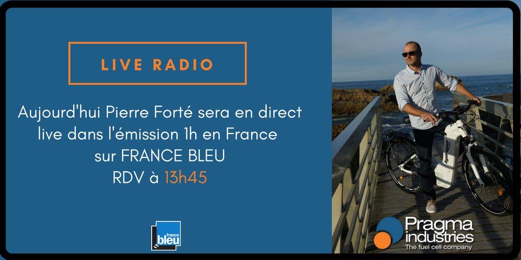 Aujourd'hui dans l'émission 1h en France sur @francebleu suivez Pierre Forté PDG de Pragma Industries. #hydrogen #écomobilité #vélo #H2now #fuelCell