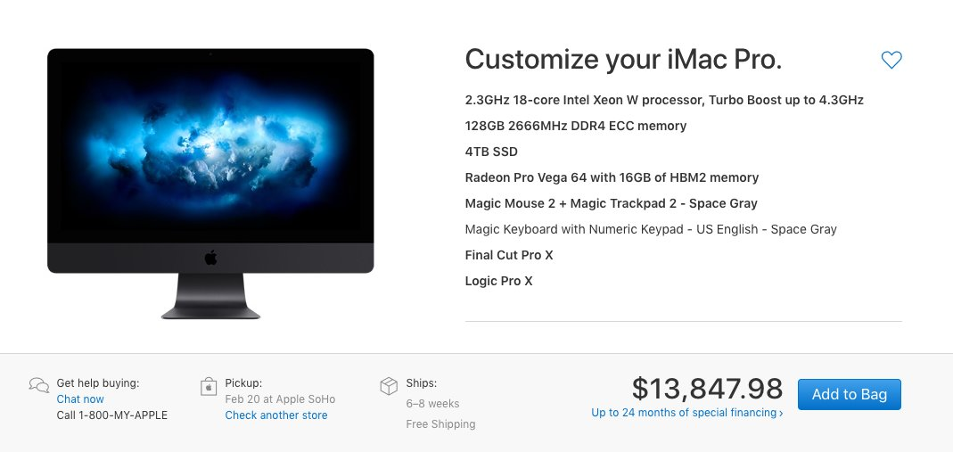 Who has 1 #bitcoin to lend me? Just need to buy the most expensive iMac ever.  $BTC #Apple #iMacPro https://t.co/nTfot0lDm4