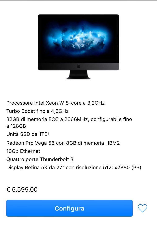 #Apple: il nuovo #iMacPro è disponibile ora all'acquisto anche in Italia! Si parte da 5599€! https://t.co/5DATXg8QeM