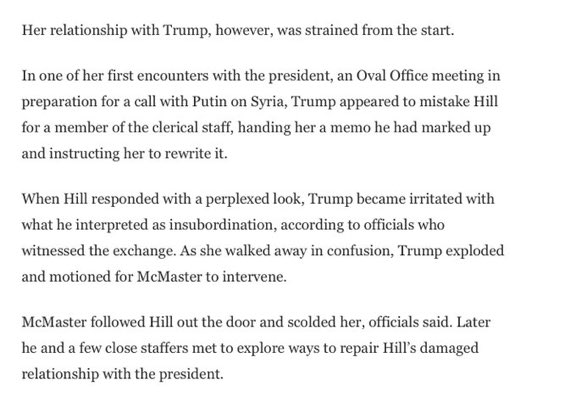 Trump thought adviser and noted Russia expert Fiona Hill was a clerk - and then Hill was berated for Trump's mistake.
