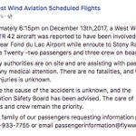 """West Wind Aviation, which owns the ATR 42 aircraft involved in the crash, said in a Facebook post the cause is unknown, but post refers to incident as an """"accident."""" Immed. family of passengers requesting information can call 1-866-933-7755. #yxe #yqr"""
