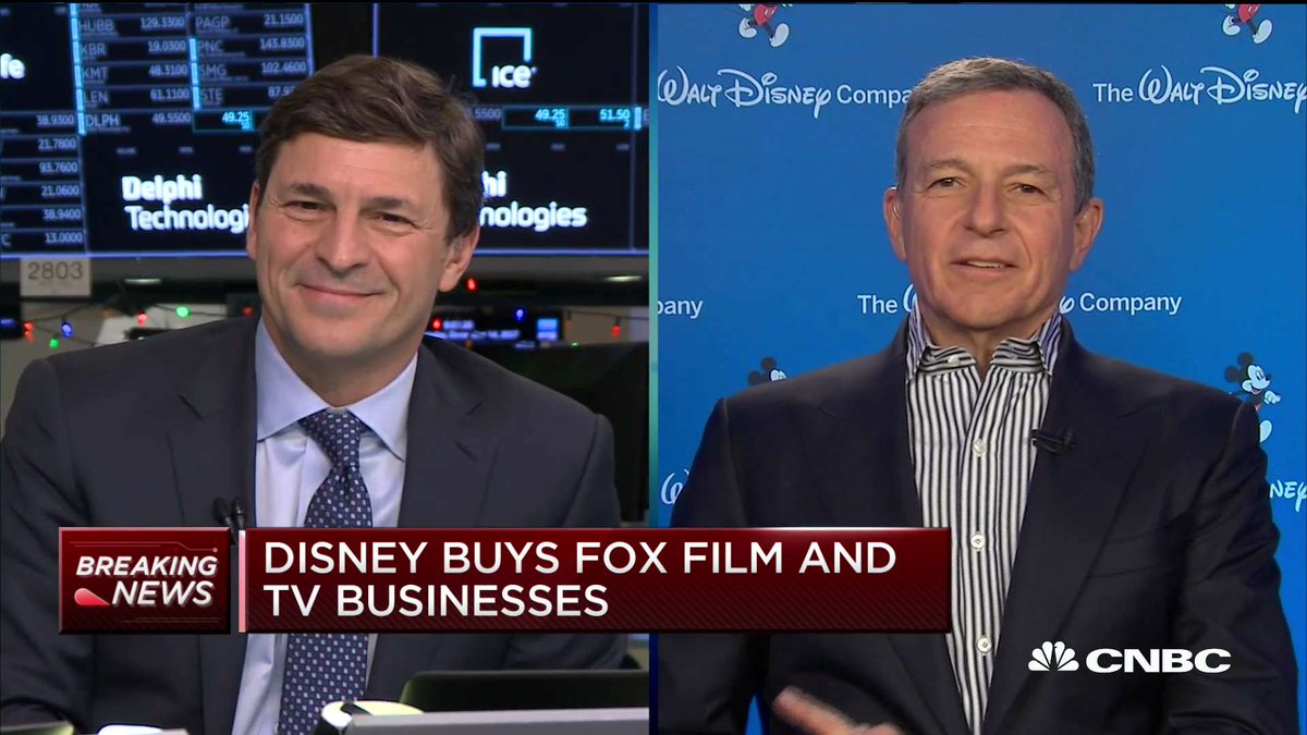 LIVE now on @CNBC: @RobertIger, the chairman & CEO of The Walt Disney Company, discusses his company's more than $52 billion deal for most of 21st Century Fox.  Watch on CNBC TV or https://t.co/9SiIuaXfCo