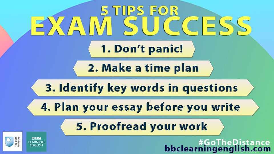 bbc learning english on ✍exams don t panic here are  here are our 5 tips for success when writing for exams there s lots more advice about writing for exams here bbc in 2cjuqvk