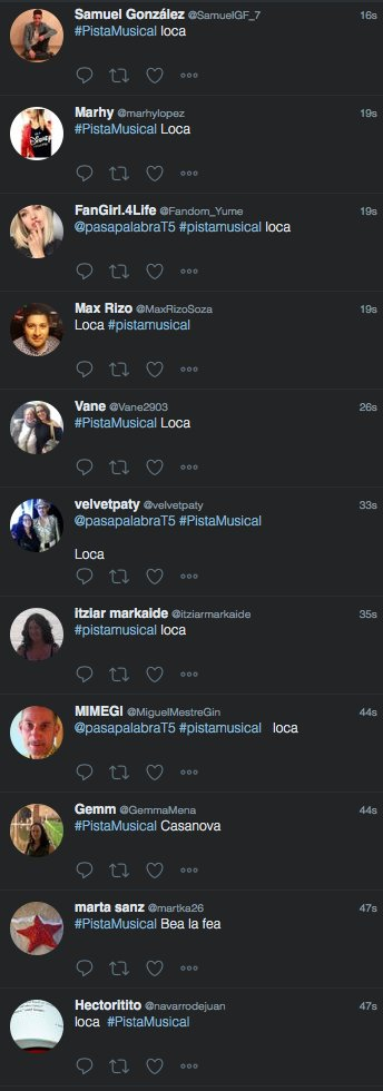 RT @pasapalabraT5: La #PistaMusical de hoy, para @navarrodejuan, @Susunkorda69 y @sigeris. https://t.co/NEKrEHGOWK