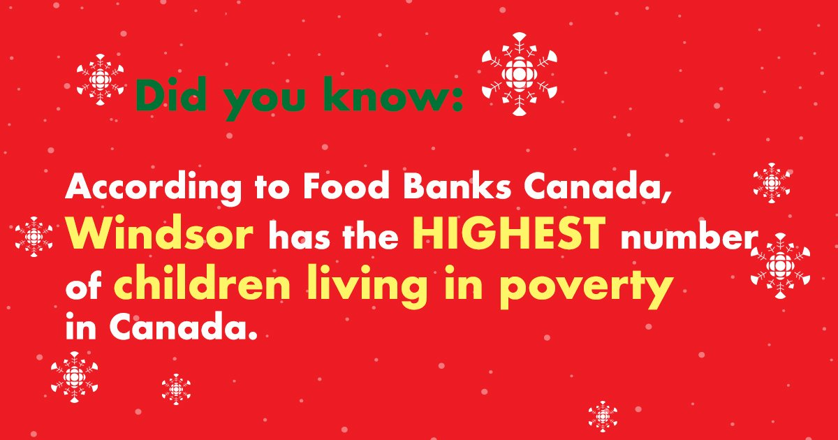 The holidays can be a difficult time of year. Did you know Windsor has the highest number of children living in poverty? Donate to #cbcSOTSont and help local families in need https://t.co/L2cYuKwJNo