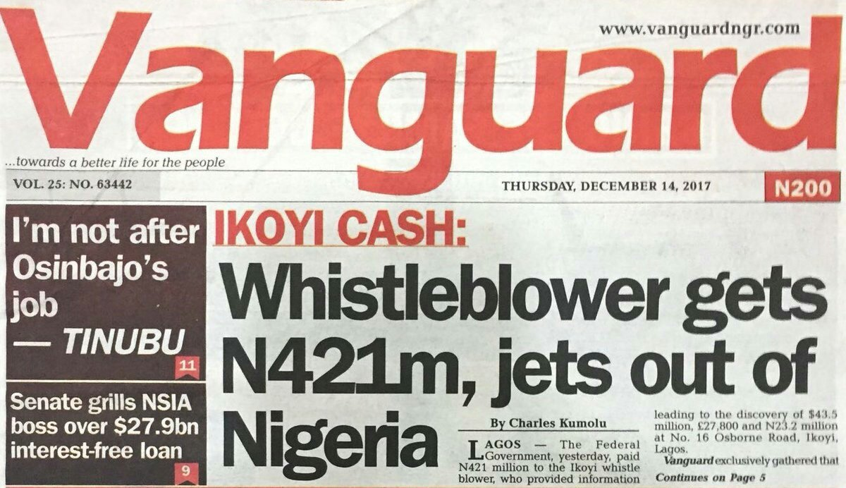 Happening earlier today. The whistleblower was paid part of his percentage which amounted to N421m and he immediately jets out of #Nigeria.  If it was me... I wouldn&#39;t have jetted out Ooo... I would have used the money to play #Bet9ja <br>http://pic.twitter.com/gisCpd5f2Q
