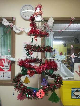 Bedpan reindeers and milk bottle top Christmas trees are among the home-made decorations on renal wards F7 & F8 at St Luke's Hospital this Christmas!